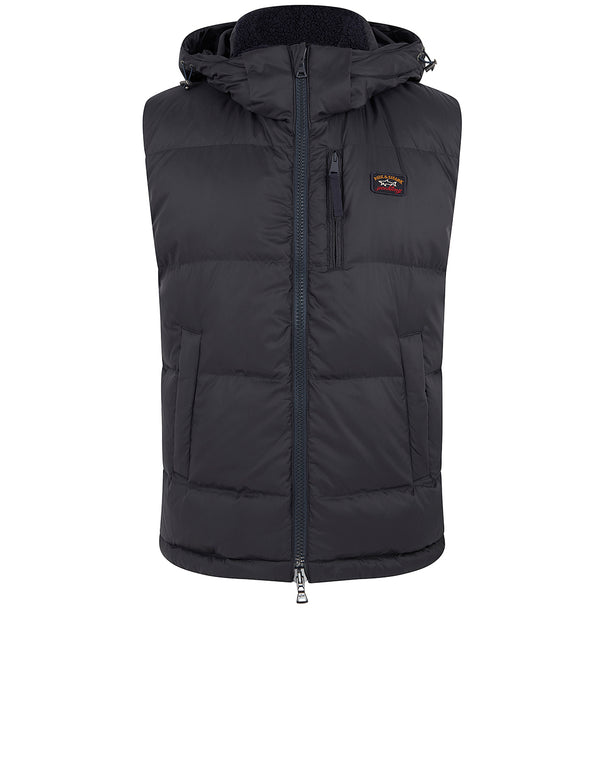 Hooded Down Utility Vest in Blue