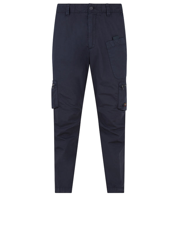 Woven Cotton Cargo Trousers in Blue