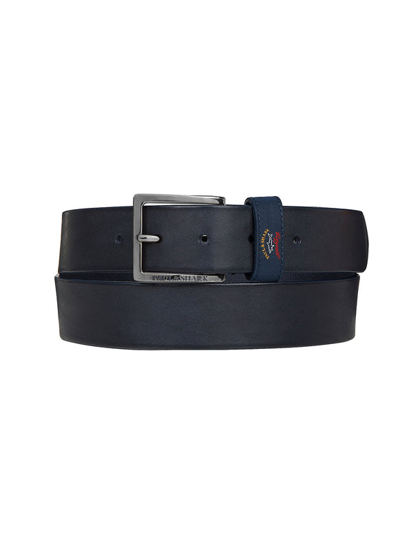 Printed Logo Leather Belt in Blue
