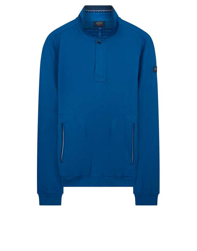 Quarter Zip Funnel Neck Sweater in Cobalt Blue