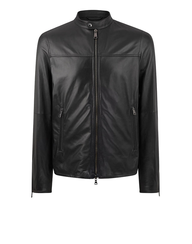 Aqua Leather Snap Collar Jacket in Black