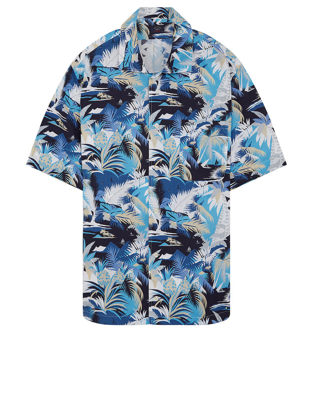 Floral Print Short Sleeve Shirt in Blue