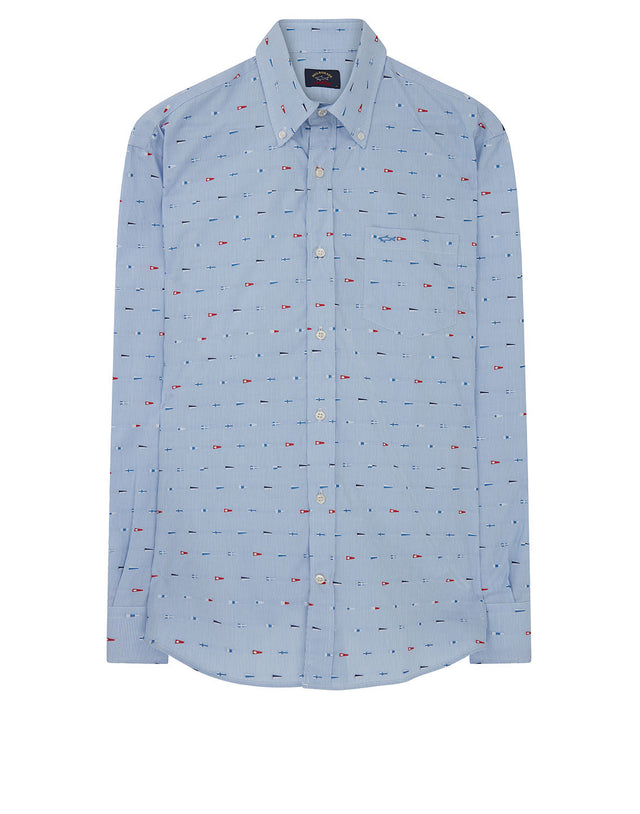 Button-Down Flag Embroidered Shirt in Blue