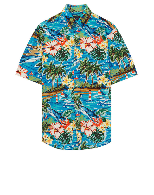 Button-Down Hawaiian Print Short Sleeve Shirt in Blue