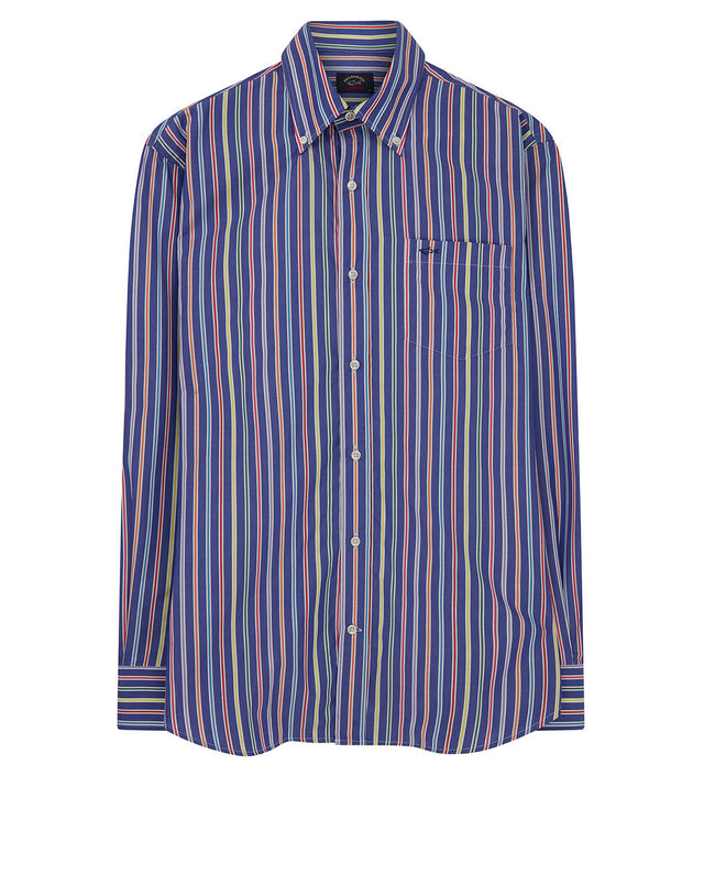 Button-Down Multi Pinstripe Shirt in Navy