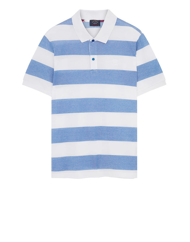 Check Undercollar Polo Shirt in Light Blue