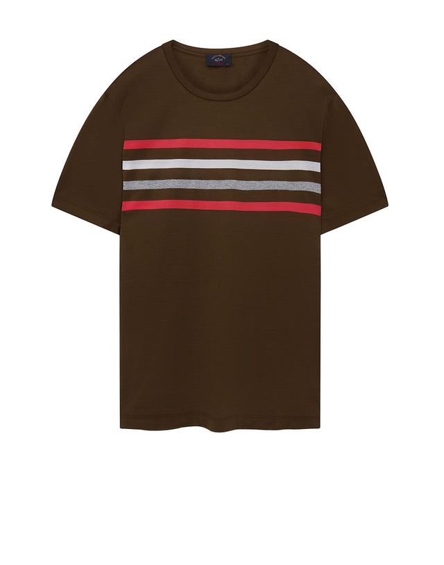 Chest Stripe Crew T-Shirt in Khaki