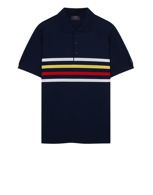 Chest Stripe Polo Shirt in Navy