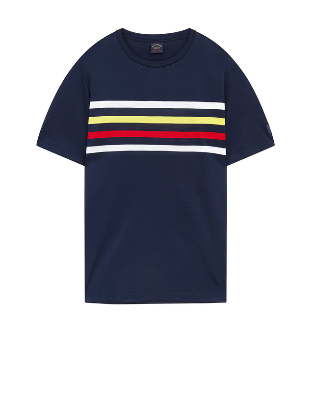Chest Stripe Crew T-Shirt in Navy