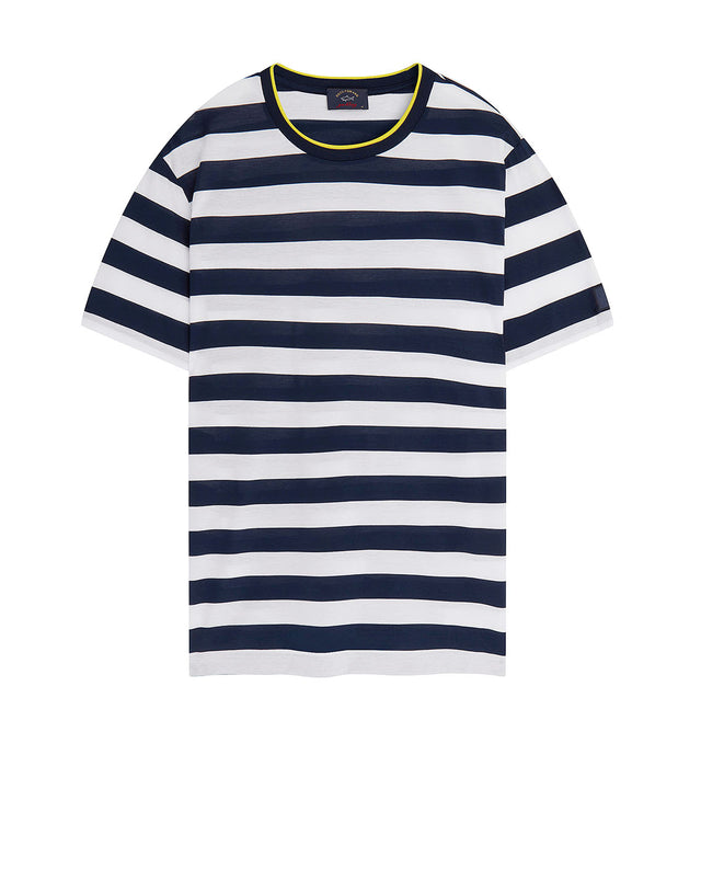 Contrast Crew Neck Stripe T-Shirt in Blue