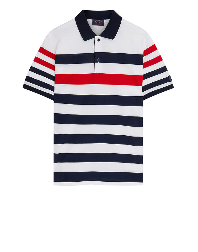 Contrast Stripe Polo With Sleeve Patch in Red