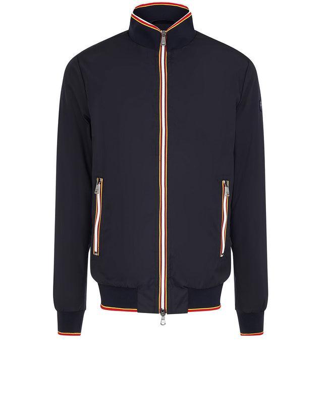 Contrast Trim Track Jacket in Navy
