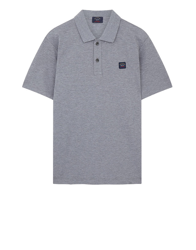 Cotton Polo Shirt With Chest Patch in Grey Marl