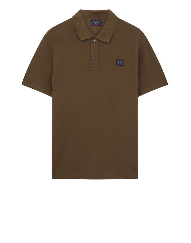 Cotton Polo Shirt With Chest Patch in Khaki