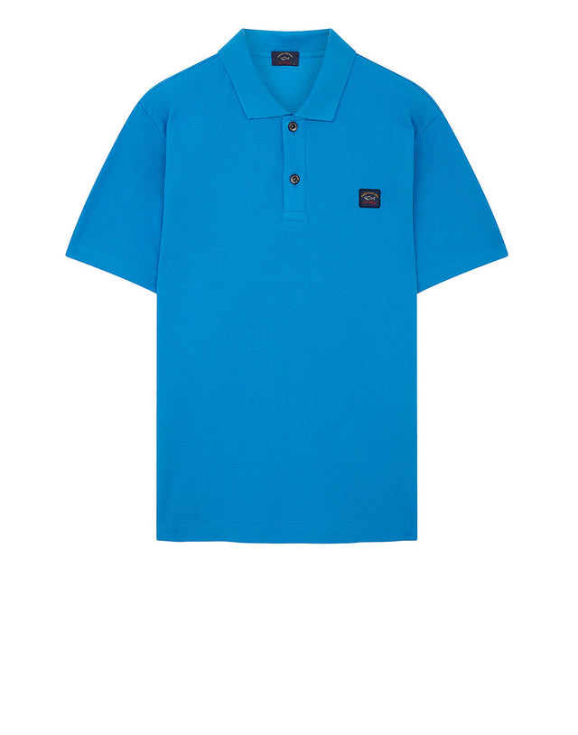 Cotton Polo Shirt With Chest Patch in Light Blue