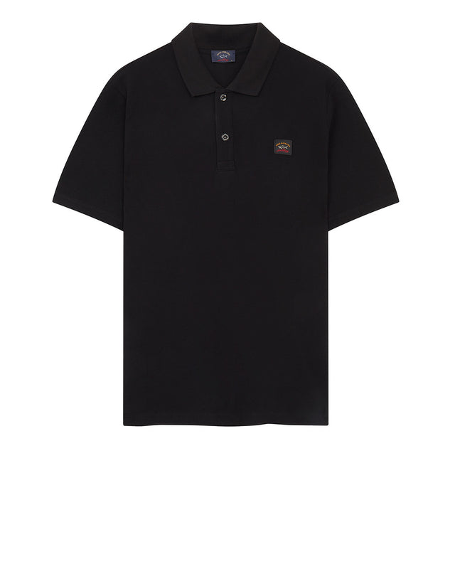 Cotton Polo Shirt With Chest Patch in Black