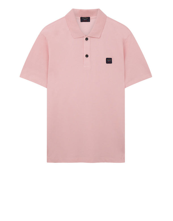 Cotton Polo Shirt With Chest Patch in Pink