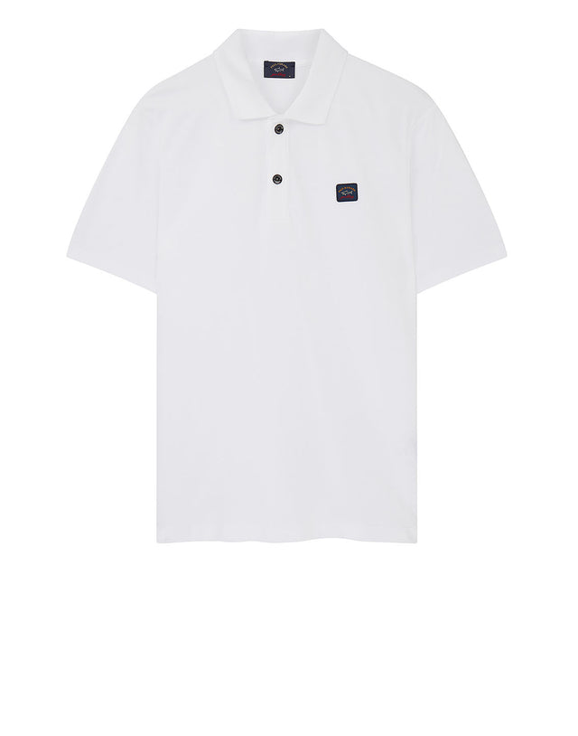 Cotton Polo Shirt With Chest Patch in White