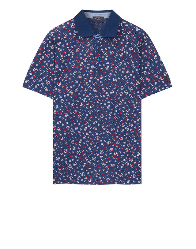Floral Print Polo Shirt in Blue