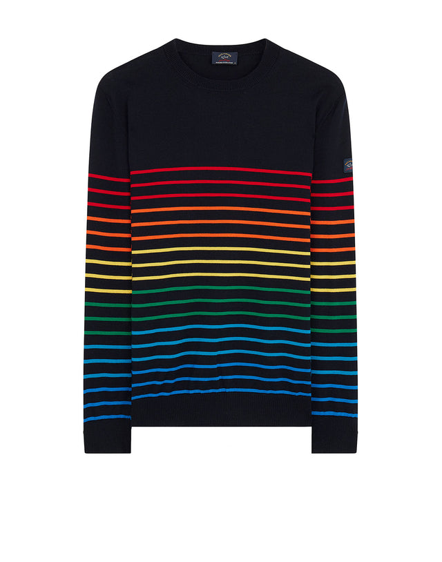 Gradient Stripe Crew Neck Jumper in Navy/Multi