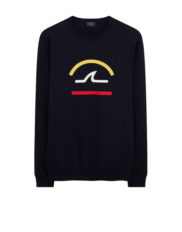 e3cdd467a7 Graphic Logo Printed Crew Sweatshirt in Navy