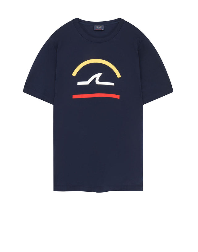 Graphic Logo Printed Crew T-Shirt in Navy