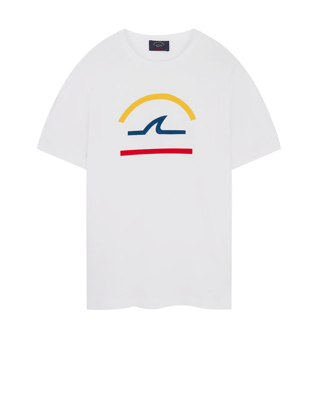 Graphic Logo Printed Crew T-Shirt in White