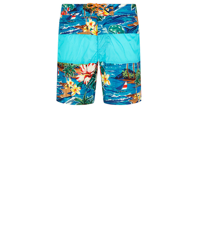 Hawaiian Print Swim Short in Multi