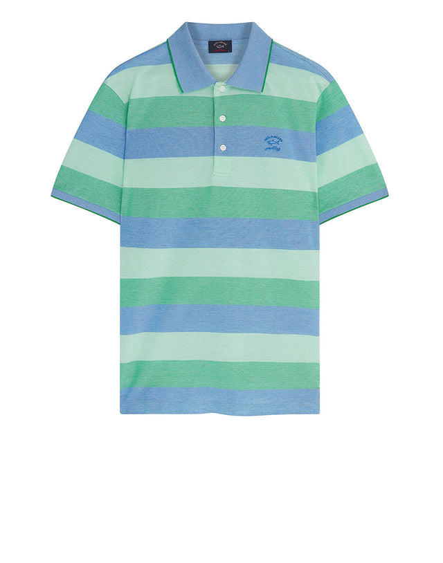 Heritage Shark Stripe Polo Shirt in Green