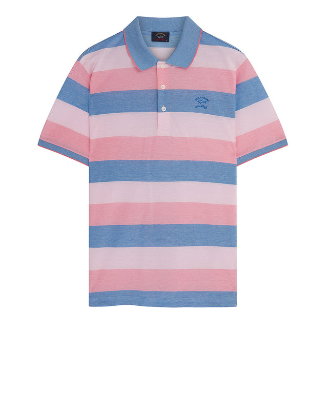 Heritage Shark Stripe Polo Shirt in Light Blue