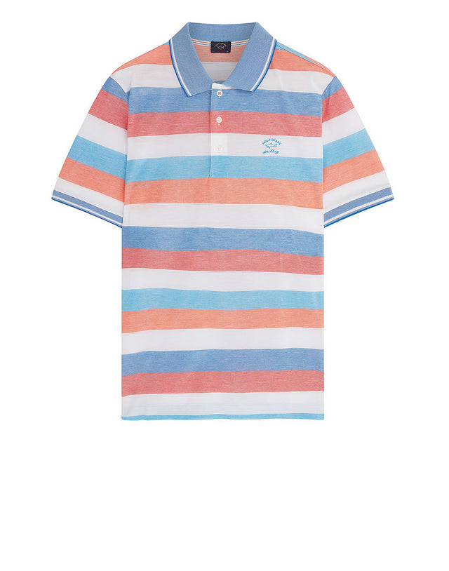 Heritage Shark Stripe Polo Shirt in Pink