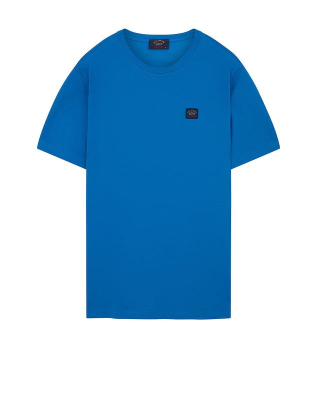Logo Patch Crew T-Shirt in Light Blue