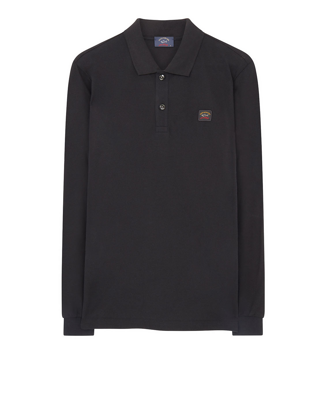 0788cd60b Long Sleeve Polo Shirt With Chest Patch in Dark Grey | Paul & Shark