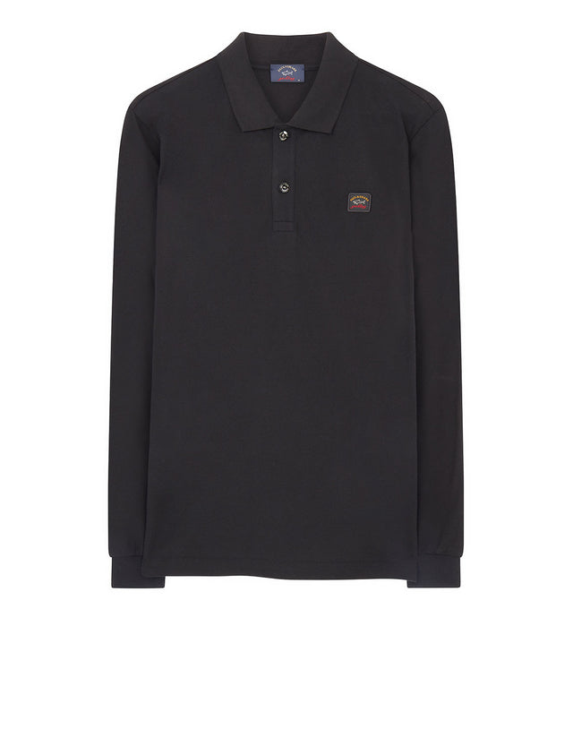 Long Sleeve Polo Shirt With Chest Patch in Dark Grey