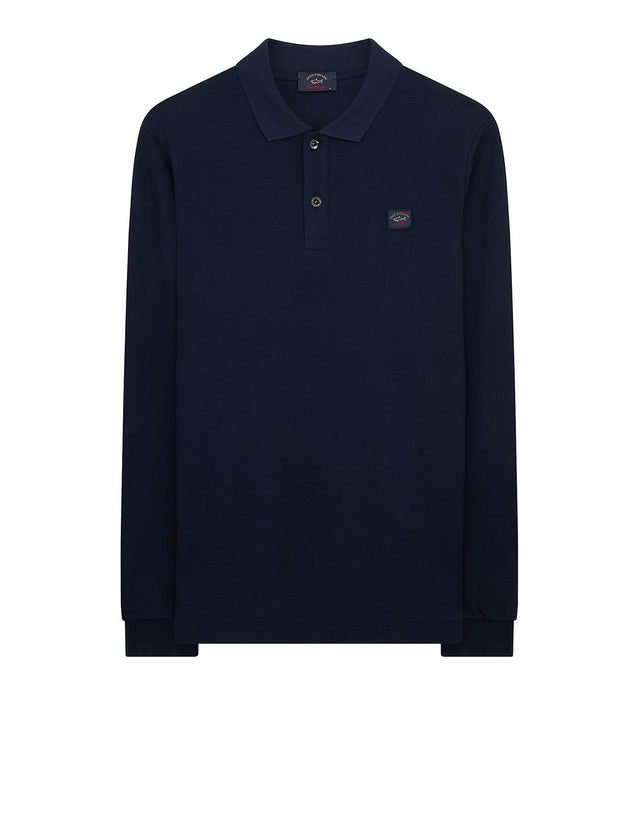 Long Sleeve Polo Shirt With Chest Patch in Navy