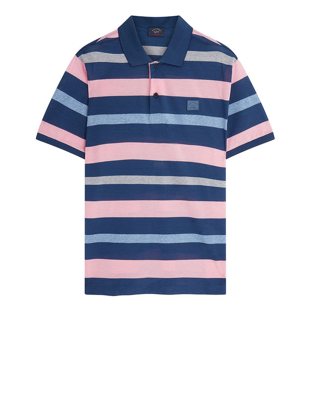 Multi Stripe Polo With Chest Patch in Navy