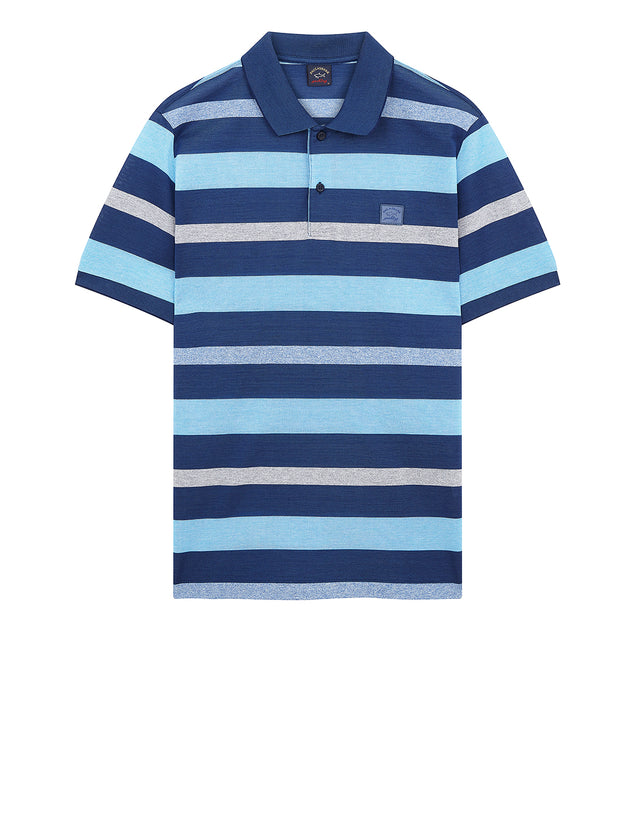 Multi Stripe Polo With Chest Patch in Blue