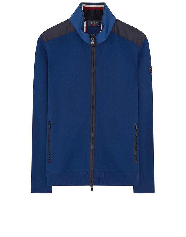 Packable Hood Zip Through Jumper in Blue