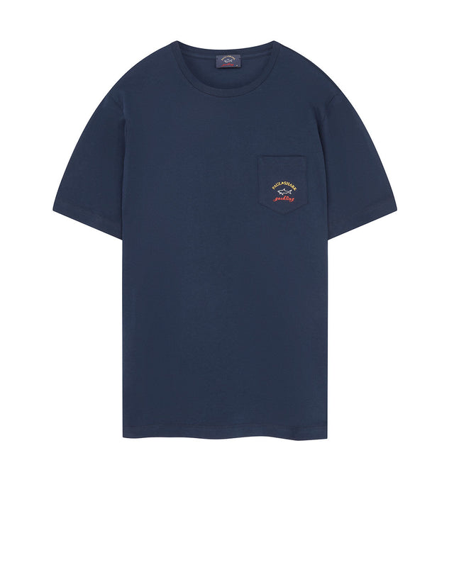 Pocket Embroidered T-Shirt in Navy