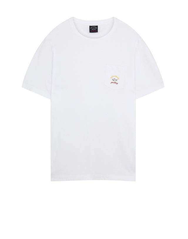 Pocket Embroidered T-Shirt in White