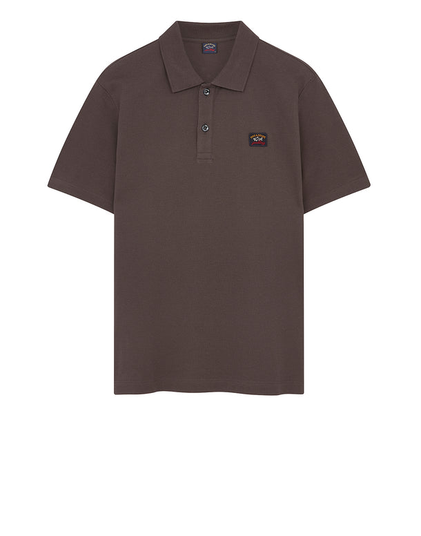 Cotton Polo Shirt With Chest Patch in Brown