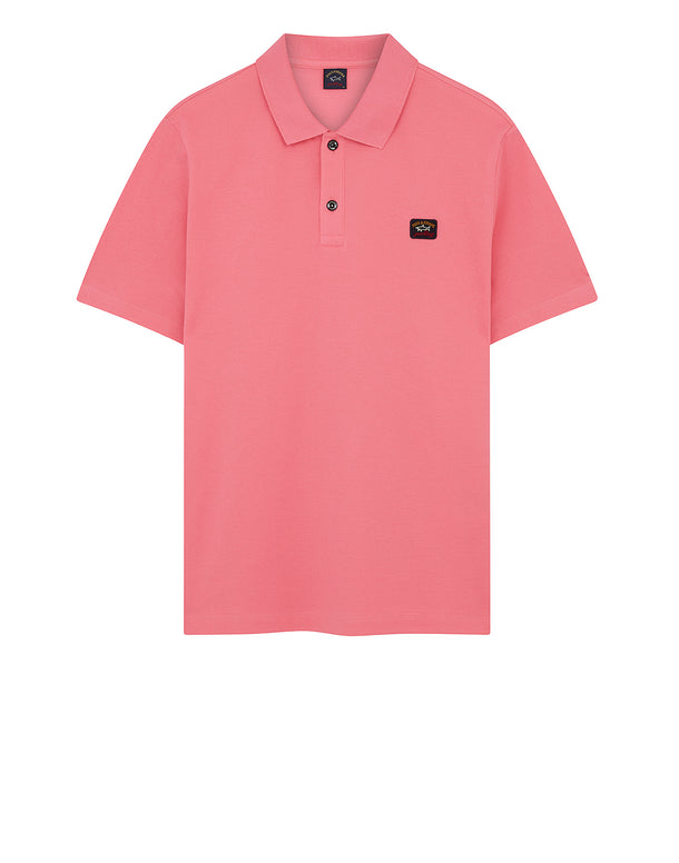 Cotton Polo Shirt With Chest Patch in Fuchsia