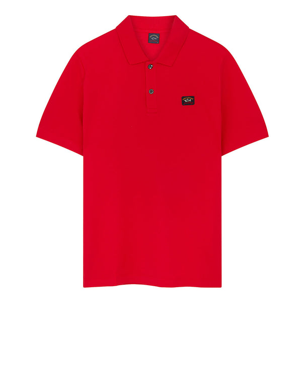 Cotton Polo Shirt With Chest Patch in Red