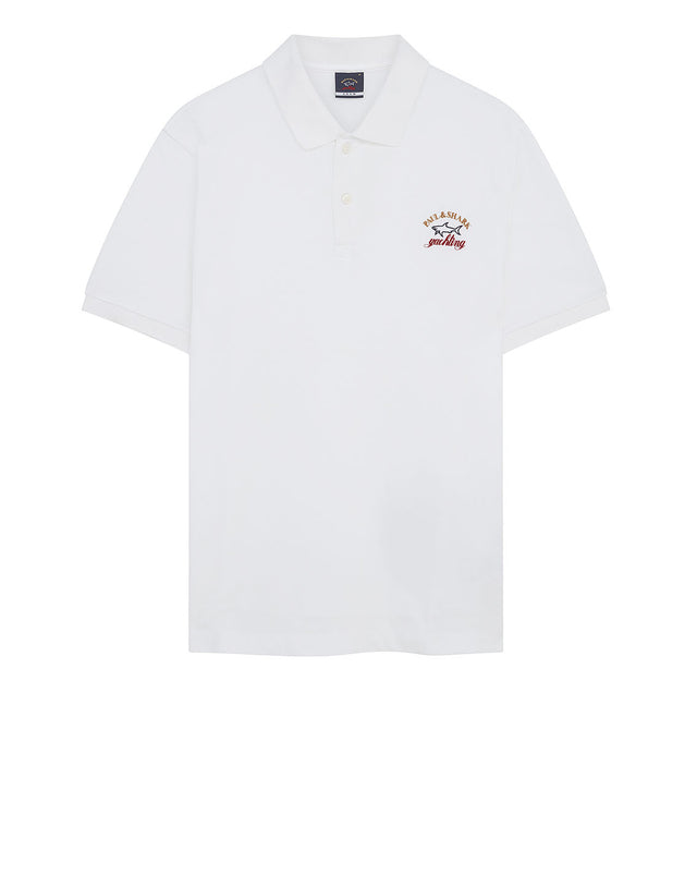 Embroidered Logo Polo Shirt in White