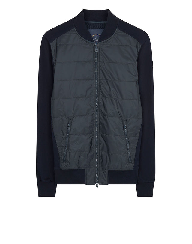 Quilted Bomber Jacket in Navy