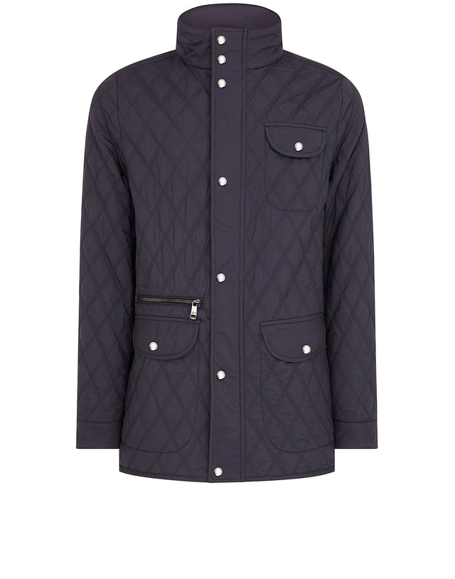 Diamond Quilted Stand Collar Jacket in Navy