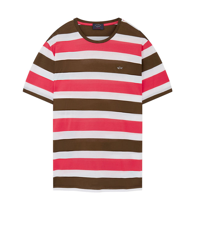 Shark Embroidered Block Stripe T-Shirt in Khaki