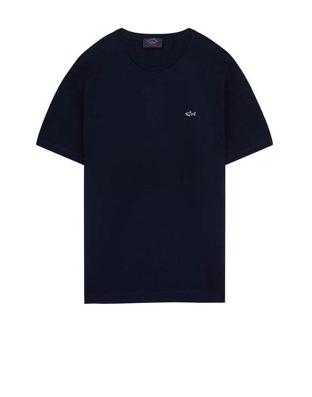 Shark Embroidered Crew T-Shirt in Navy