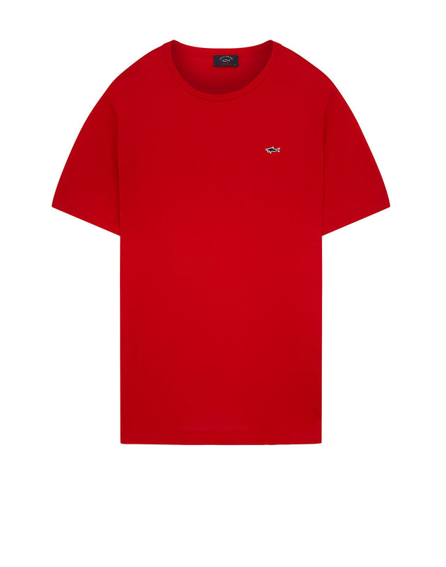Shark Embroidered Crew T-Shirt in Red