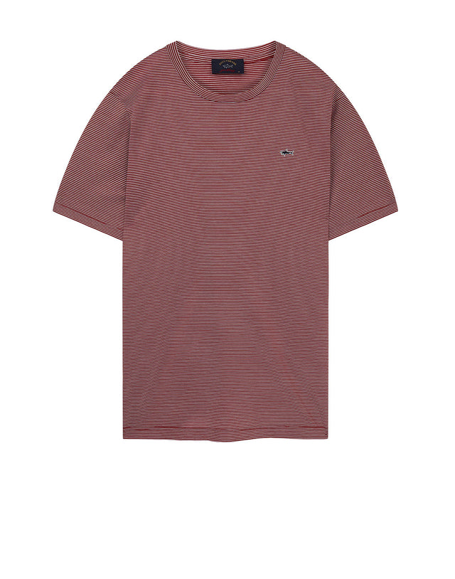 Shark Embroidered Pinstripe T-Shirt in Red